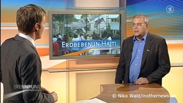 Rainer Lang, Sprecher der Diakonie Katastrophenhilfe, im ARD-Brennpunkt zum Erdbeben in Haiti.