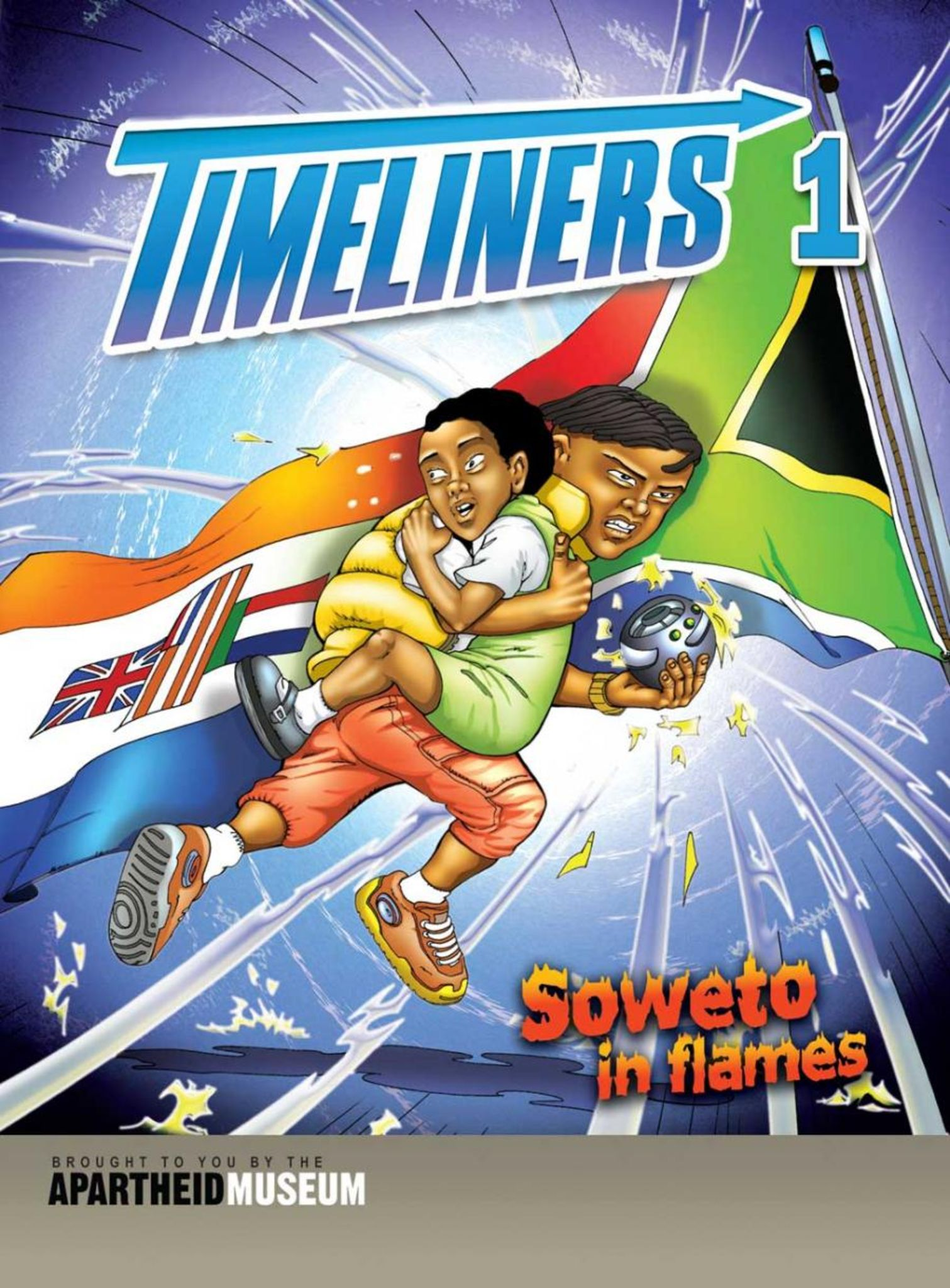 "Cover of the first ""Timeliners"" comic, issued by Apartheid Museum in 2004."