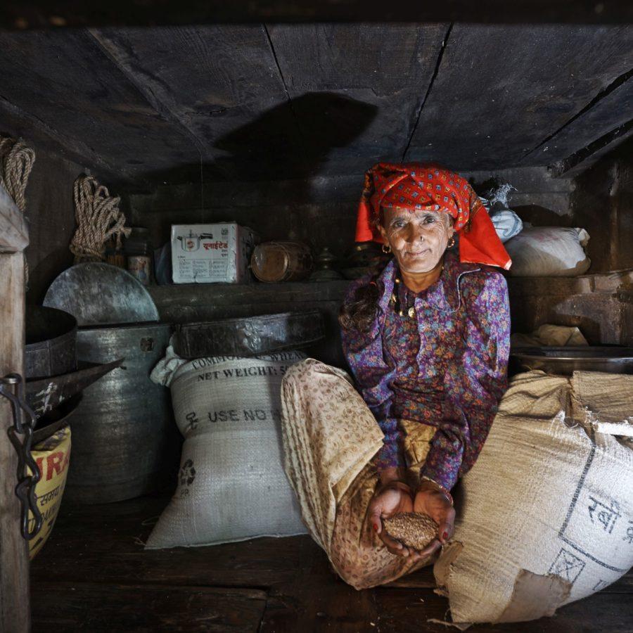 Srimati Gulabidevi (60) zeigt den traditionellen Reis und Saatgutspeicher. Srimati wohnt in Gundiyat Gaon, einem Dorf im Rawain-Tal. Es gehoert zum Projektgebiet der Organisation Navdanya an den Auslaeufern des Himalayas.  Traditionell ist die Bewahrung und Vermehrung von Saatgut Frauensache. Frauen haben auch dafür gesorgt, dass vergessene Nahrungsmittel wie die Fingerhirse, genannt Ragi, in Indien wieder populär geworden sind. Ragi enthält besonders viel Kalzium und Eisen und schützt so vor Mangelernährung.