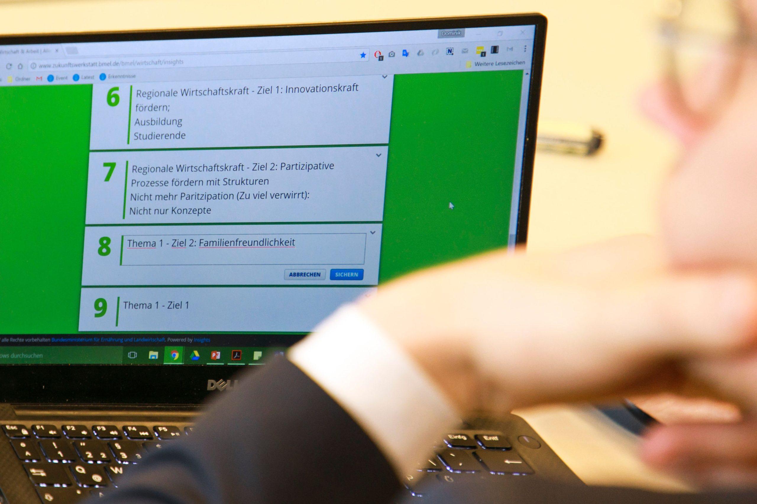 Zukunftswerkstatt: Blick auf einzelne Beiträge der Teilnehmerinnen und Teilnehmer. Foto: Pressestelle BMEL